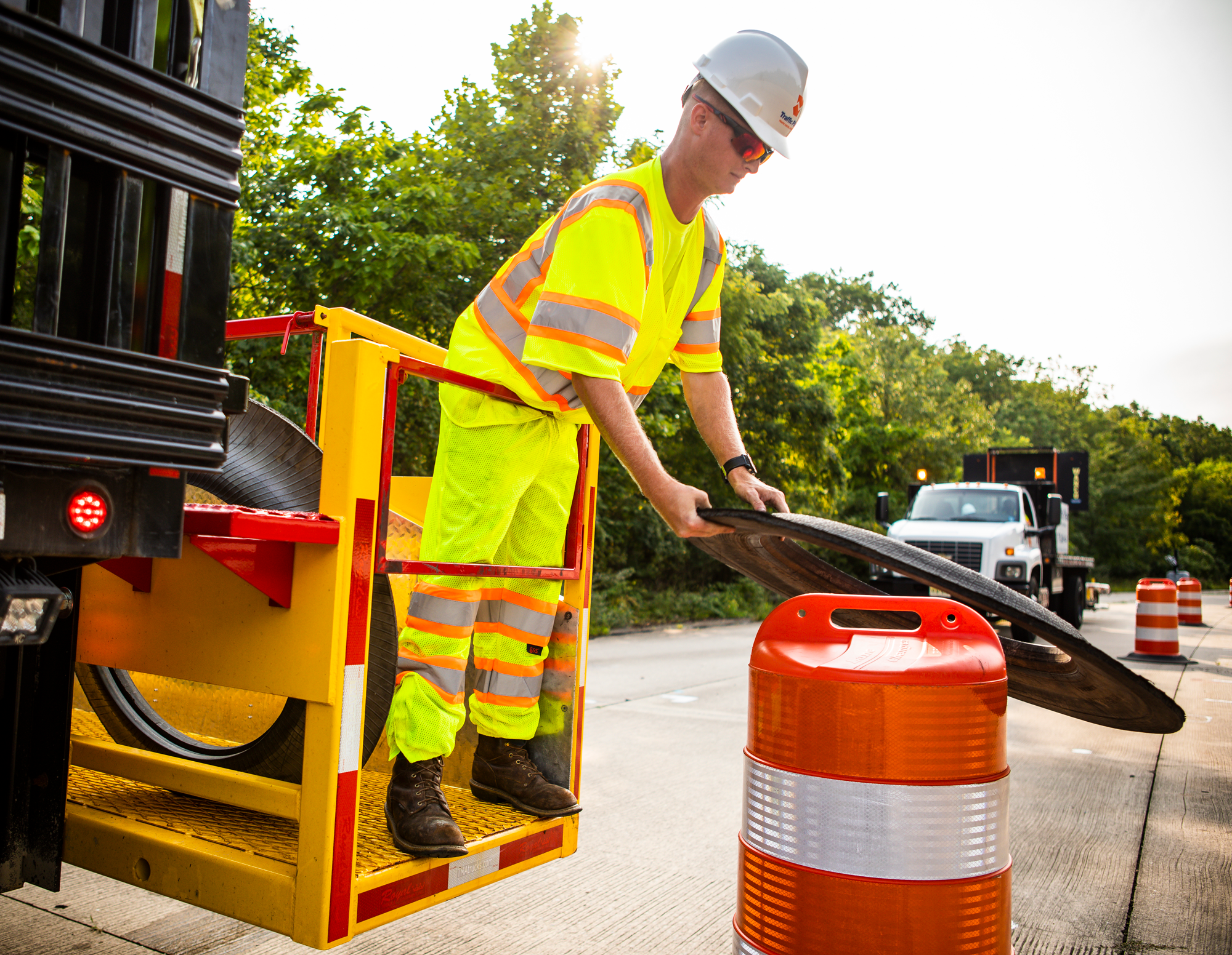 Traffic control flaggers and equipment plans for highways