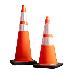 Traffic barricades and construction cones